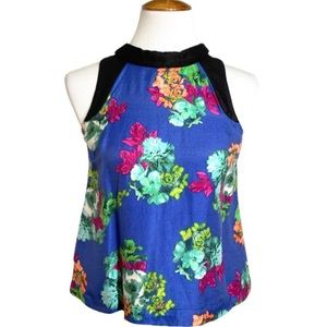 Anthropologie Zippered Floral Sleeveless Top